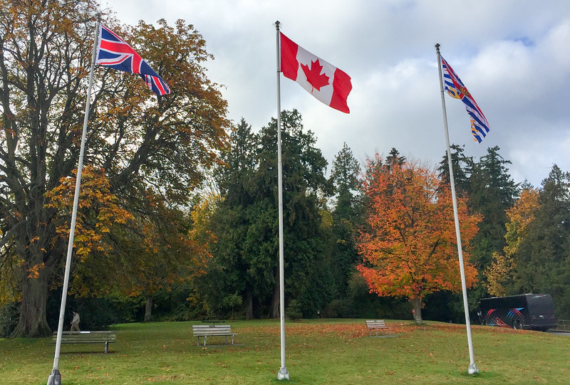 1st sign that I'm not in America anymore.  Listeners to the Hello Internet podcast will recognize (even though it is slightly obscured) that the British Columbia flag on the right is rubbish.  Look it up - horrible!