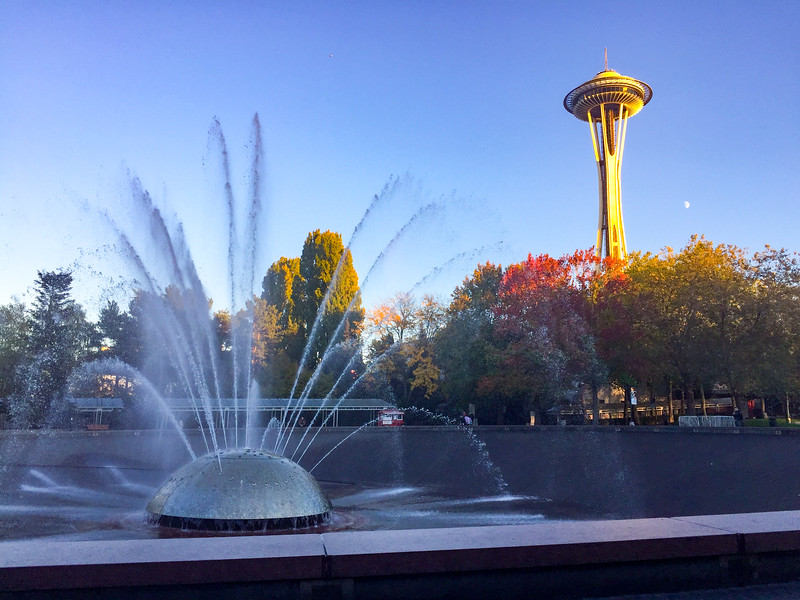 I wound down my day in Seattle sitting by this enormous fountain (there are often many people in the bottom part playing in it) as the sun lit up the Space Needle with an incredible golden hue.