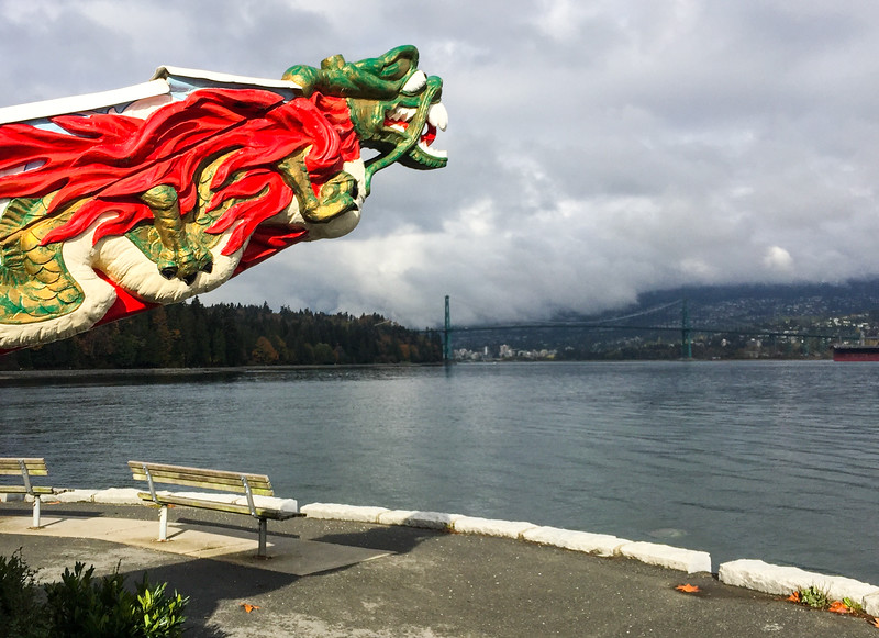 Cool dragon statue overlooking the Lions Gate Bridge