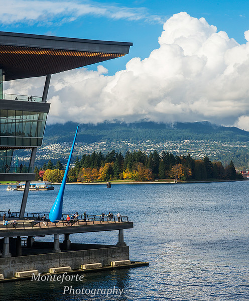 View of Convention Center and Stanley Park from Canada Place Vancouver BC