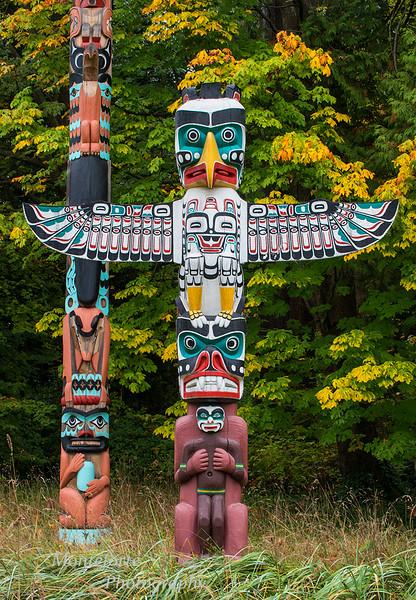 Totem poles in Stanley Park Vancouver BC