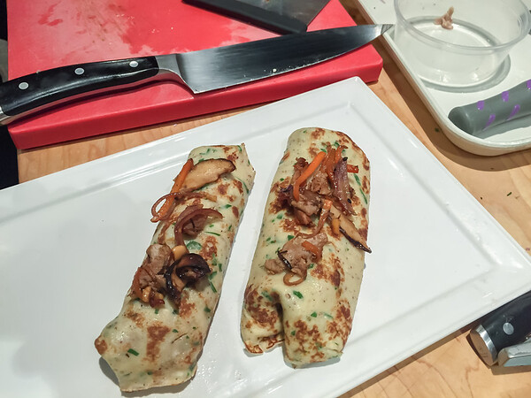 BBQ Duck and Vegetable Crepe