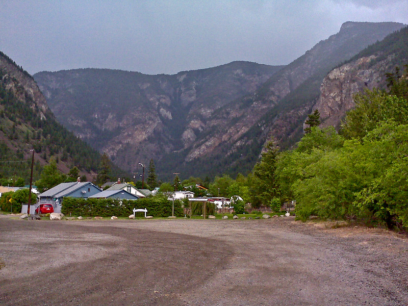 The cell phone didn't do this justice, but it is a small town in a mountain dead end canyon.  Storm clounds were above.
