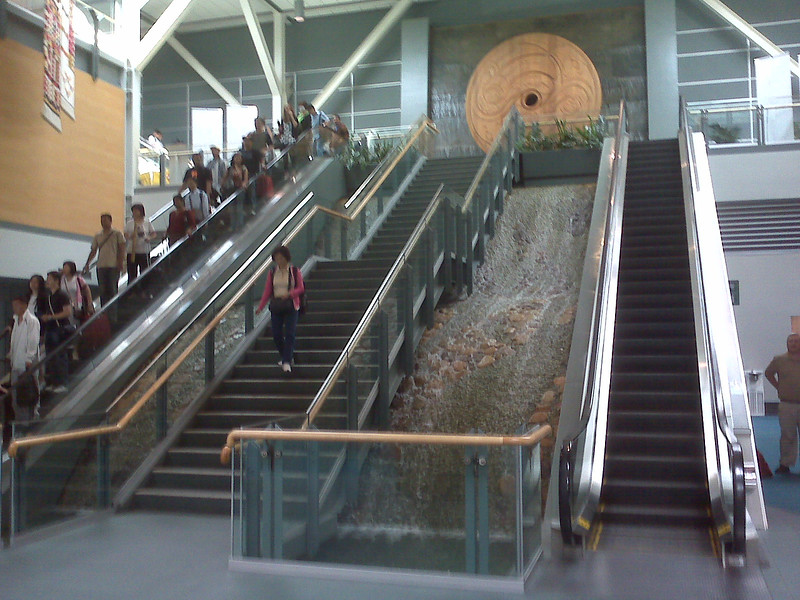 Waterfall in Vancouver airport terminal