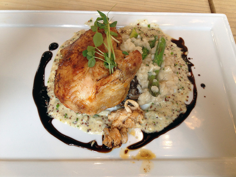 Calla & Randy's cooking class creation - Cornish game hen with risotto, aspergras and morel mushrooms and a mustard white wine cream sauce and balsamic