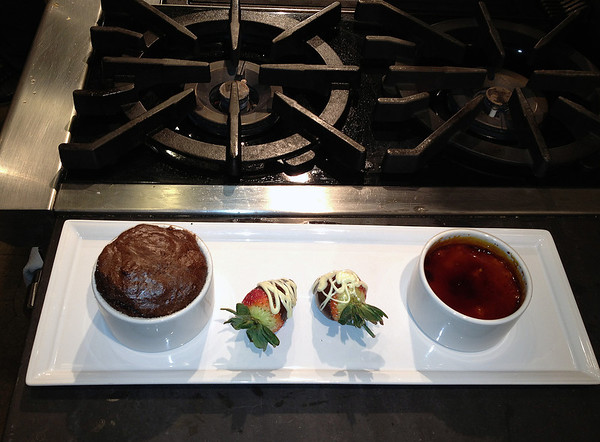 Calla & Randy's cooking class creation - chocolate souffle, chocolate covered strawberries and creme brulee