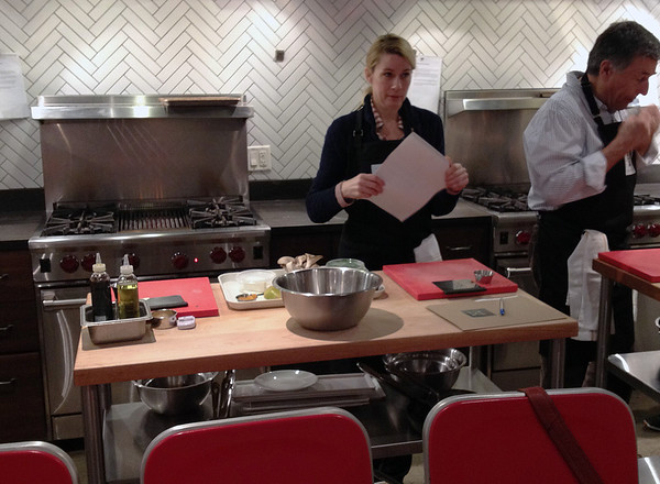 Kitchen lab at cooking class.  Pre-measured ingredients come in, dirty dishes go out.  It's magic.