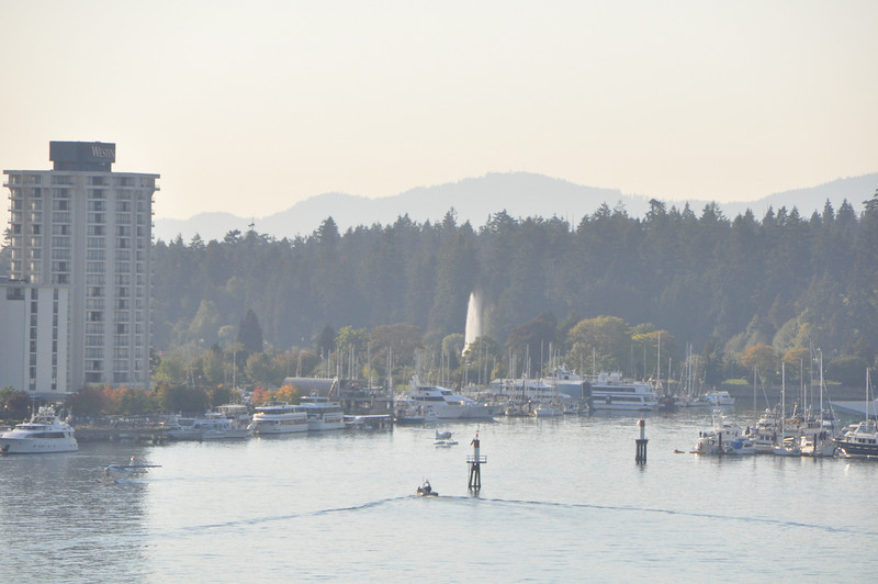 The fountain over in Stanley park as seen from the cruise ship.