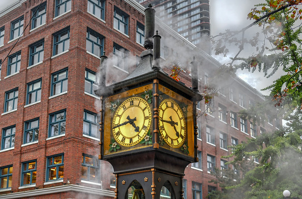 Steam-powered clock found at Gastown (a national historic site) located in Vancouver, British Columbia