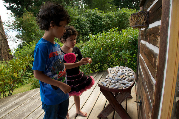 Collecting shells at our little cottage house