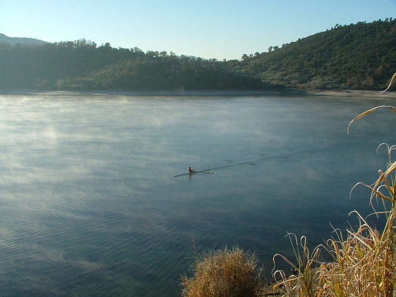 Morning mist on lac st cassien with rower