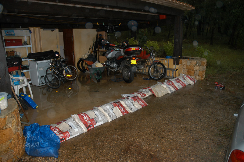 sandbags stopping the water going into the abri