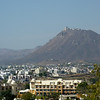 Udaipur from City Palace with Sajjangarh (Monsoon Palace) in the Distance