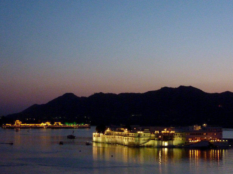 Lake Palace and Jag Mandir Palace at Dusk