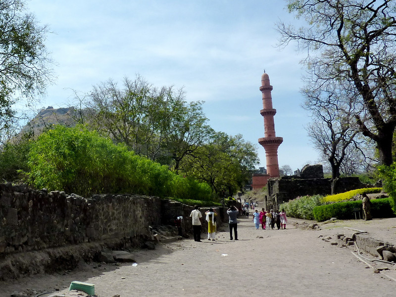See that Fort Way in the Distance?  No, we Didn't Climb There - Top of Daulatabad Fort with Chand Minar (Tower of the Moon) in the Foreground