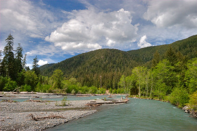 The Hoh River in Olympic National Park. Our campsite was about 70 ft to the right.