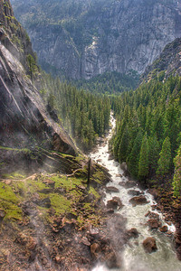 Looking downstream from the top of Vernal Falls in Yosemite, which I have somehow neglected to include a photo of here. Hmmm...