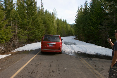 We tried and failed about six times to cross the Cascade Range via back roads but we couldn't find any that were open for the season yet above around 3000 ft.