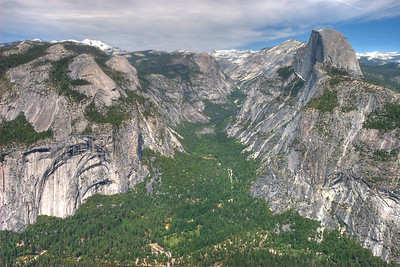 Yosemite Valley from Glacier Point. For reference, the trees at the bottom of the valley are something like 150ft tall, maybe more. Half Dome on the right, of course.