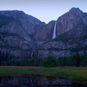 Yosemite Falls at dusk with a car driving through my long exposure.