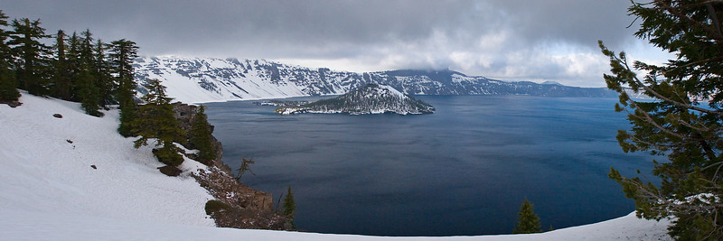 Wizard Island, Crater Lake at the end of May. Spring was well underway on the lower altitudes but winter still had a pretty good hold up here.