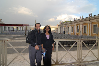 Anu and Suchit at the Piazza San Petro, Vatican, Rome, Italy.