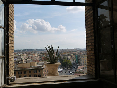 View out a window at the Vatican
