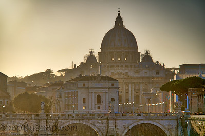 Sunset view of Rome and Vatican City