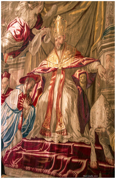 Tapestry depicting ceremony of installing a new pope.