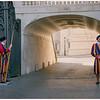 Standing guard at an entranceway.