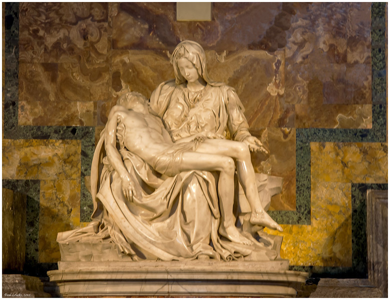 Ah, La Pieta. This was a very difficult object to capture since one was required to photograph through thick bullet-proof glass and glare. It was a genuine challenge to my PhotoShop skills.