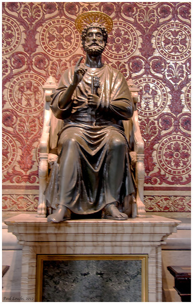 St. Peter. It is popular to file by the bronze sculpture and touch or kiss his right foot.