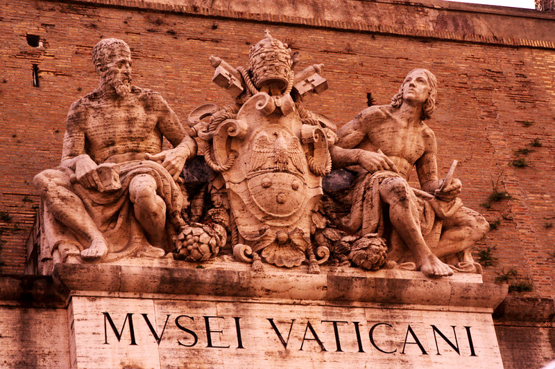 At the entrance of the Vatican Museum.