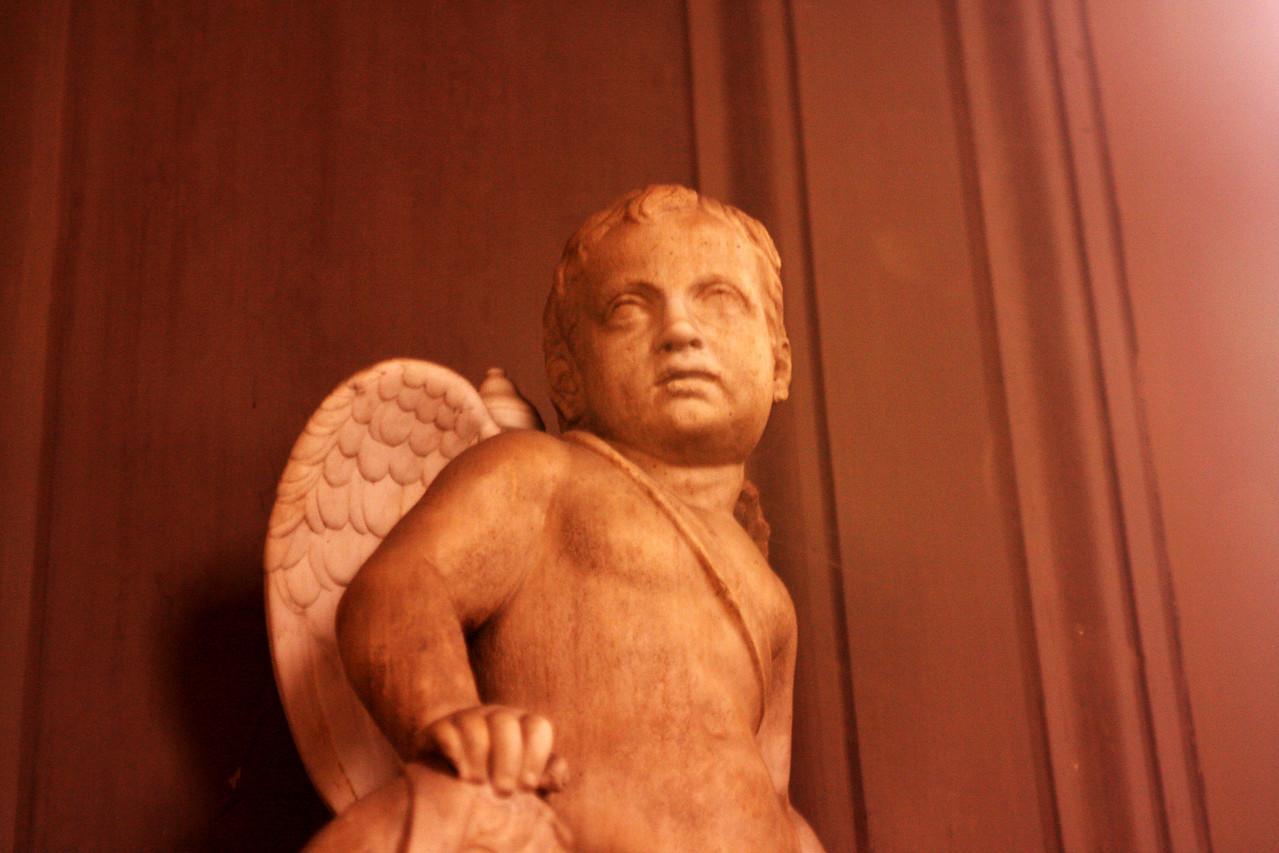 An angel sculpture.