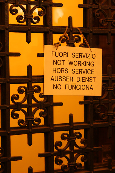 The Vatican is closed. (actually, just this elevator.)