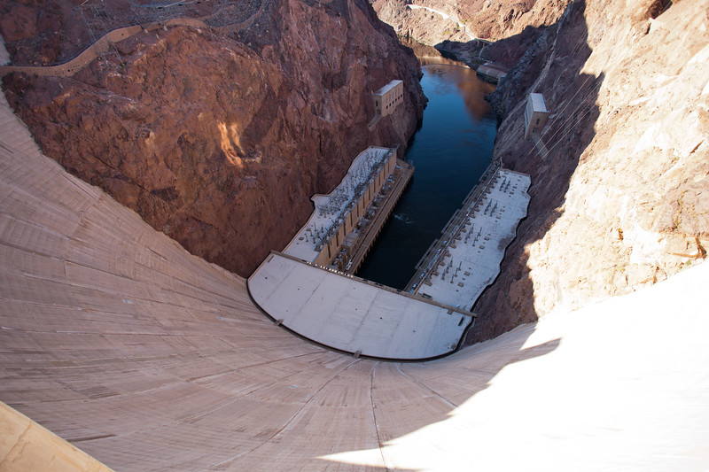 Hoover - Looking down at the Power Plant and Colorado River below the dam.