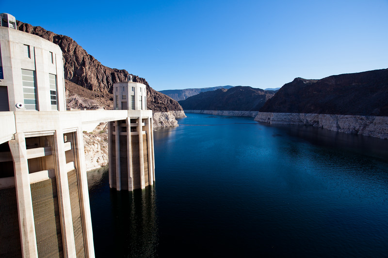 Lake Mead and the Nevada Intake Towers above Hoover Dam