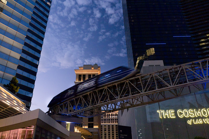 The Aria express monorail that takes you to even more fantastic MGM hotel group properties.