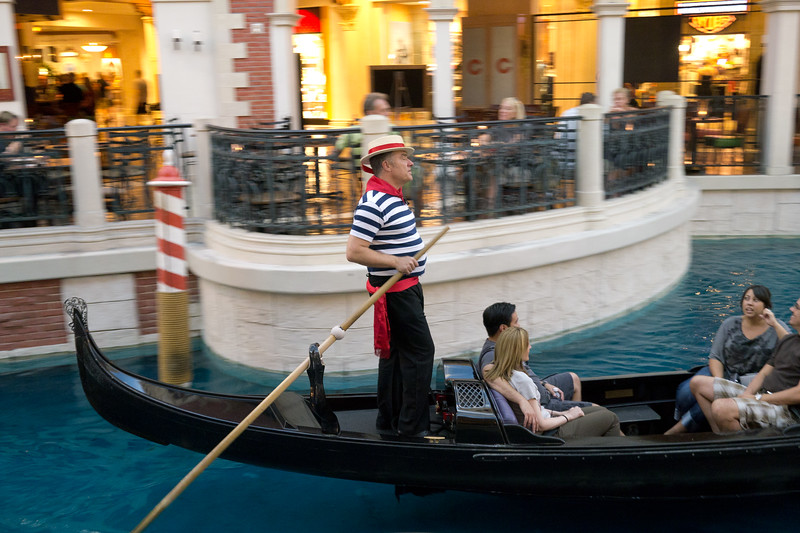 Gondolier singing in the Grand Canal at the Venetian hotel