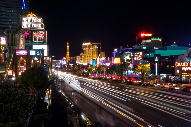 Cars moving down Las Vegas Blvd near New York New York