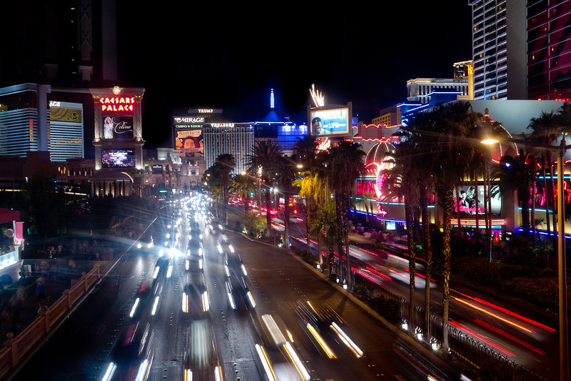 Cars blurring along down Las Vegas Blvd