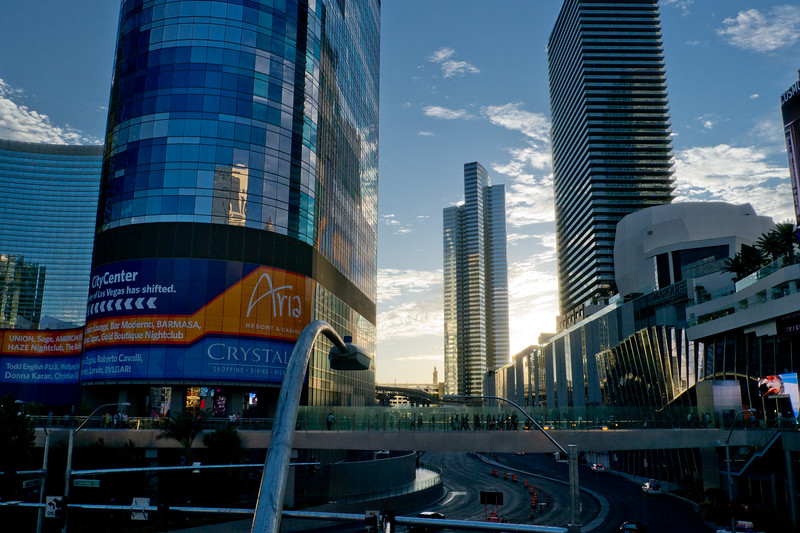 Left to right: Harmon Tower (planned to be imploded due to unsafe structure), Vdara, and Cosmopolitan Hotels.  No, this not HDR