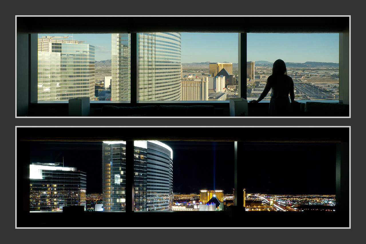 The view of our hotel room at the Vdara, by day and by night