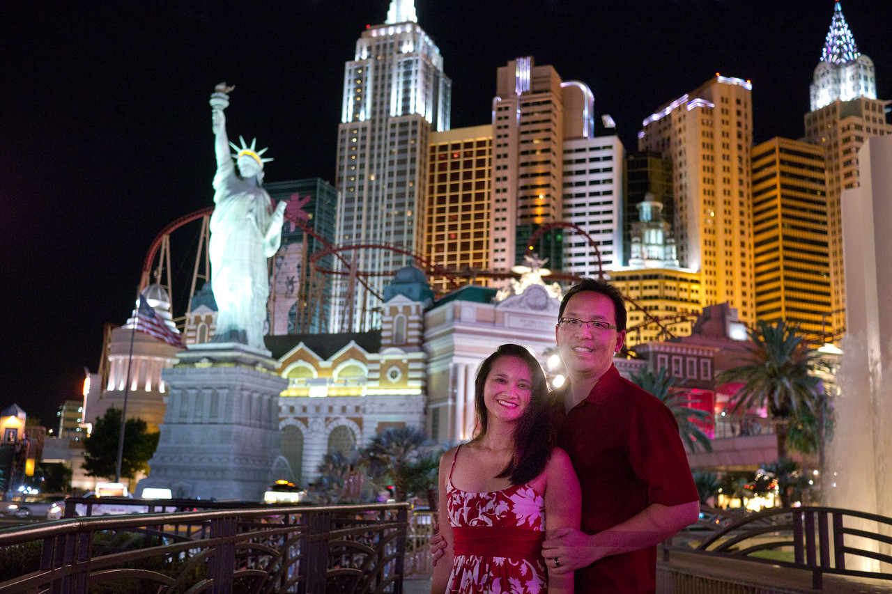 Catherine and I in front of New York New York Hotel and Casino