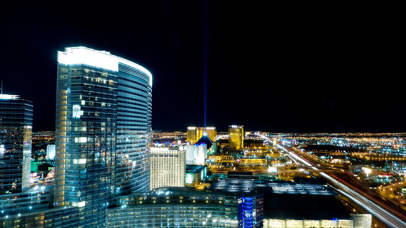 Night time view from our suite at the Vdara hotel