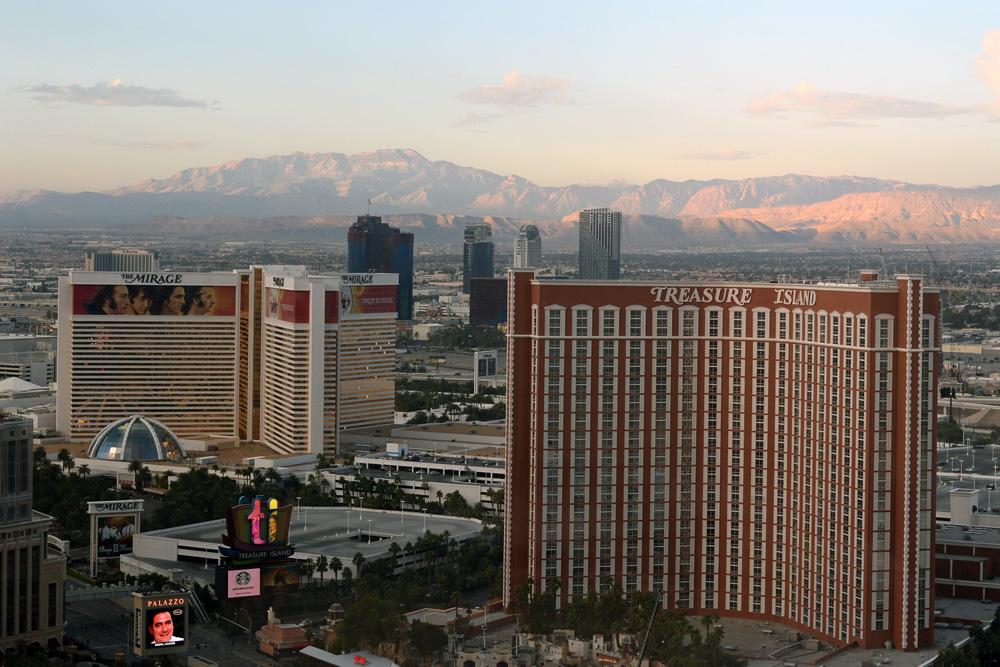 Morning light on Vegas mountains
