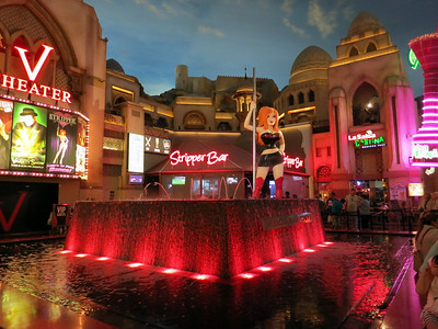 Las Vegas at its classiest. Stripper bar open to the mall, theater with adult-oriented events, alcohol by the yard.