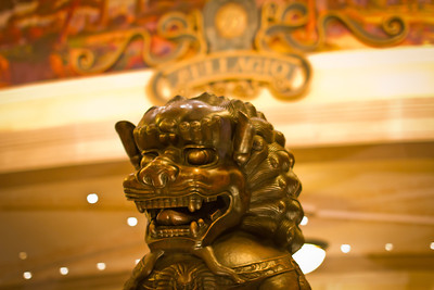 Lion Statue in the Bellagio Foyer