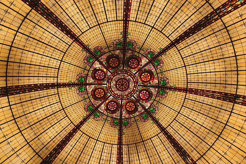 A glass dome in the ceiling at the Paris hotel
