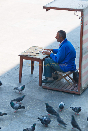 Birdseed vendor in front of New Mosque, Istanbul,Turkey